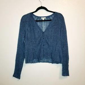 Eileen Fisher blue Italian yarn open knit cardigan